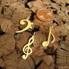 Notenschlüssel, Achtelnote oder Bassschlüssel, Noten Anhänger in 585er Gelbgold