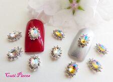 3D Nail Art Oval Star Web Silver Lemon Rhinestone Frame Jewels Gem Alloy Metal