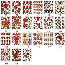 #324S Shiny Rose Roses Flower Love Reward Wedding Craft Scrapbooking Stickers