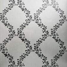 Glitter Embossed Victorian Wallpaper White Silver Gray metallic floral Damask 3D