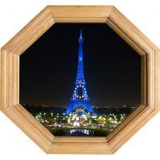 Sticker Trompe l'oeil deco Cadre Bois tour Eiffel tour Eiffel