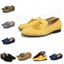 Loafers Handmade Tassel Shoes Modern Formal Mens Dress Casual Hot Suede Slip On