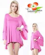 Boho Bohemian Hot Pink Hippie Gypsy Tier Wide Bell Sleeve Tunic Shirt Top S M L