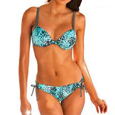 Bügel Bikini Strand Bademode Push-Up Gr.34 42 44 46 C-Cup aqua leo-print