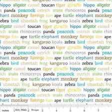 Cuarto gordo zoofari Animal palabras Blanco Algodón Colchas de retazos de tela-Riley Blake