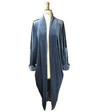 Baylis Knight Grey Velvet Duster Coat Oversize Boho Retro Festival opera