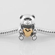 New Silver Teddy Bear GOLD HEART LOVE Charm Fit European Brand bracelet UK seler