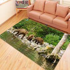 3d Brown Bear Jungle 4 Non Slip Rug Mat Room Mat Quality Elegant Photo Carpet UK