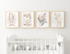 Baby, Girl Nursery Bedroom Wall Art decor set of four prints woodland animals