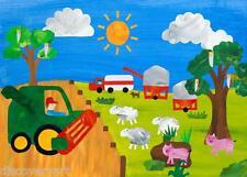 Tempo di raccolto Bambini Camera Da Letto a Muro Arte Poster stampati fienile animali da fattoria trattore