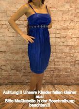 Abendkleid kurz Coctailkleid Plisseekleid Minikleid Kleid Spaghettiträger blau