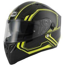 vcan V128 TRACER casque moto intégral verrouillage prêt jaune fluo