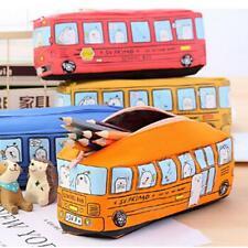 Cartoon School Bus Pencil Case Canvas Car Makeup Bag Large Capacity Storage CB