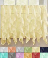 "Sheer Voile Vertical Ruffle Window Kitchen Curtain 36"" Tier Pair"