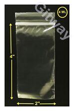 "2"" x 4"" Reclosable Resealable Ziplock Zip Lock Plastic Bag 2x4"" FDA Bags 4 MIL"