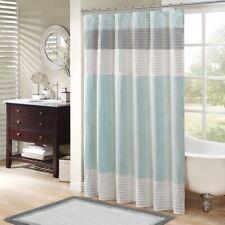 "Luxury Aqua Blue Grey Off White Pintuck Striped Fabric Shower Curtain-72"" x 72"""