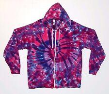 Adult Tie Dye Zip Hoodie Pink & Purple American Apparel Sweatshirt Grateful Dead
