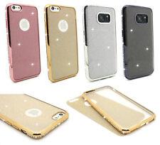 Glitzer Glitter Silikon Hülle Cover Case mit Strass Steinen für Apple & Samsung