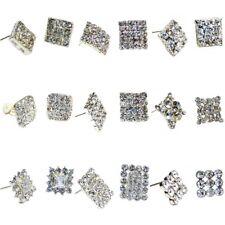 Ladies Silver Crystal Diamante Stud Square Earrings Bridal Fancy Dress Jewelry