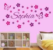 Wandtattoo Aufkleber Kinder Wunschname Mädchen 26 Blumen 2 Schmetterlinge wu091