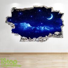 LUNA e le stelle cielo notturno di adesivi murali 3D Look-TRAMONTO RAGAZZI CAMERA DA LETTO SALOTTO Z147