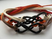 KARMASTRING thick string mens black enamelled infinity surfer bracelet festival