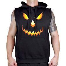 Men's Halloween Pumpkin Skull Face Black Sleeveless Hoodie Workout Fitness Gym