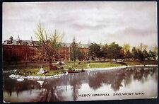 DAVENPORT Iowa ~ 1900's  MERCY HOSPITAL ~ Row Boat in Lake ~ Lady in Dress