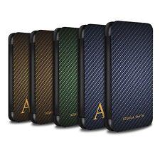 Personnalisé Motif Fibre Carbone Coque pour Apple iPhone 5/5S/Etui Cuir PU