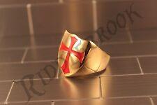 Gold Stainless steel Knights Templar Cross Shield Biker ring crusades masons