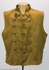 Steampunk Vest Brown Suede Like Men's Military Uniform Style Lined Costume Vest