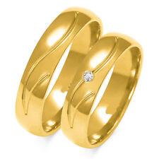 1 pares, alianzas de bodas de oro anillos 333-masivamente-con circonita-Anchura: 5mm
