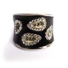 bague plaqué or blanc gouttes cristal swarovski émail noir taille 53 56 ou 60