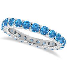 1CT Blue Topaz Eternity Ring 14K White Gold