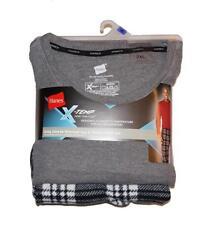 Hanes Men's X-Temp Long Sleeve Thermal Top & Micro Fleece Pant Set - Black Plaid