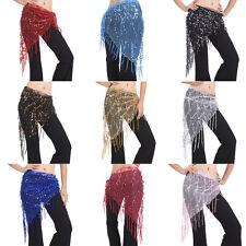 Shining Sequin Tassels Belly Dance Hip Scarf Wrap Skirt Gems Coin Fancy Hip Belt