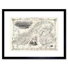 Map 1850 Tallis East Canada Quebec New Brunswick East Framed Print 12x16 Inch