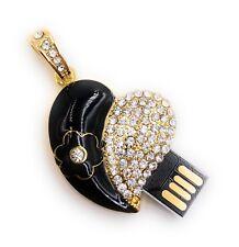 Corazón Hoja Negro Dorado con Cristales USB Stick 8GB 16GB 32GB 64GB USB 2.0