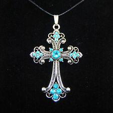 Kreuz Antik Silber Gold Anhänger Strass Wachskordel Gothic Farbwahl
