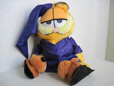 "16"" BEDTIME GARFIELD W/ MOUSE SLIPPERS PURPLE PAJAMA Plush Stuffed Animal"