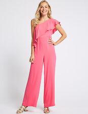 EX m&s Pink Rosa einer Schulter mit Rüschen Overall-Größe 10-24