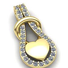 Real 1carat Round Cut Diamond Women's Fancy Heart Pendant 18K Gold