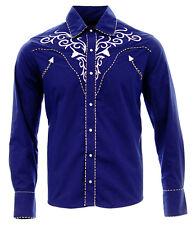 Cowboy Shirt Camisa Vaquera Western Wear El General Long Sleeve Blue/AzulCobalto