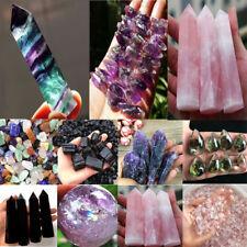100% Natural Fluorite Quartz Crystal Stone Point Healing Hexagonal Wand Gift