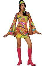 Adulto Retrò Go Go Ragazza Costume PSYCHEDELIC 60s Hippy Costume UK Taglia 6-24