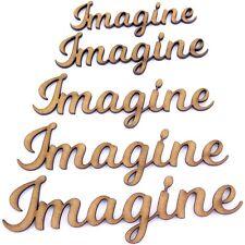 Imagine palabra forma artesanal, varios tamaños, 2 mm Madera Mdf. se unió a letras, secuencia de comandos