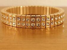 Swarovski Diamond 24k Gold bracelet Stretch Evening Wedding Prom Bangle HANDMADE
