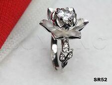 Beautiful Lotus Flower Sterling Silver 925 Round Ladies Engagement Bridal Ring