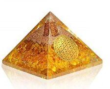 Extra Large 70-75MM Citrine Orgonite Pyramid EMF Protection Orgone Energy