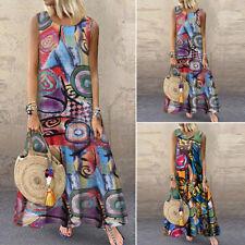 Vintage S-5XL Women Sleeveless Summer Tank Dress Floral Print Maxi Dress Plus